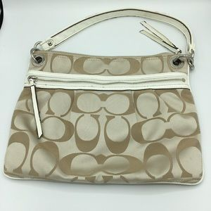 Coach Gold And White Purse